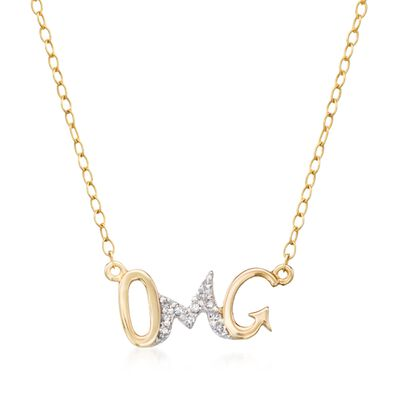 "14kt Yellow Gold ""Omg"" Necklace With Diamond Accents, , default"