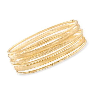 Italian 14kt Yellow Gold Jewelry Set: Six Textured Bangle Bracelets, , default