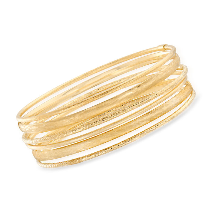 "Italian 14kt Yellow Gold Jewelry Set: Six Textured Bangle Bracelets. 7.5"", , default"