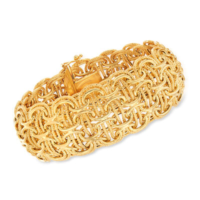 Gold Bracelets. Image featuring Italian 18kt Yellow Gold Modified Byzantine-Link Bracelet 861564