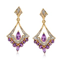 .80 ct. t.w. Amethyst Chandelier Drop Earrings With Diamond Accents in 18kt Gold Over Sterling , , default
