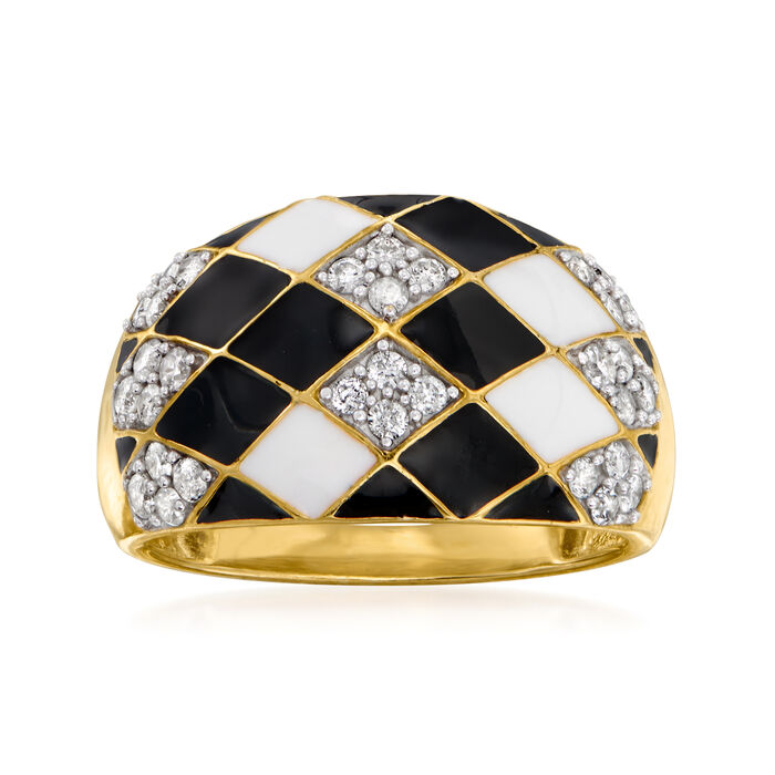 White and Black Enamel and .50 ct. t.w. Diamond Checkered Ring in 18kt Gold Over Sterling