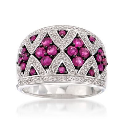 1.00 ct. t.w. Ruby and .10 ct. t.w. Diamond Dome Ring in Sterling Silver, , default