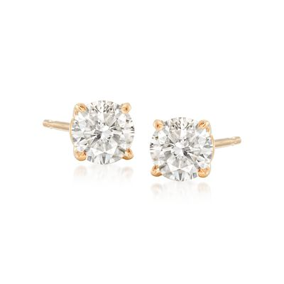 .75 ct. t.w. Round Diamond Stud Earrings in 14kt Yellow Gold, , default