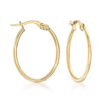 Italian 18kt Yellow Gold Oval Hoop Earrings