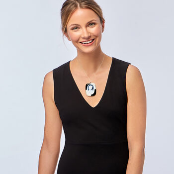 C. 1970 Vintage Blue Agate, Mother-Of-Pearl and Black Onyx Cameo Pin/Pendant in 18kt White Gold