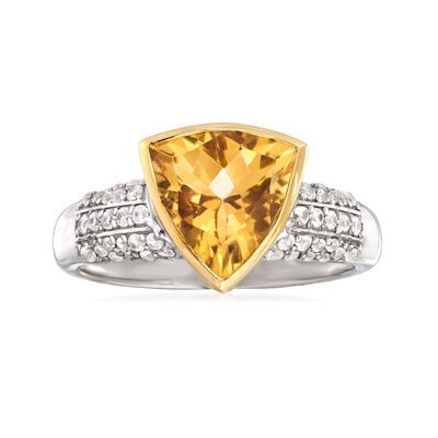 3.80 Carat Citrine and .40 ct. t.w. White Zircon Ring in Sterling Silver with 14kt Yellow Gold, , default