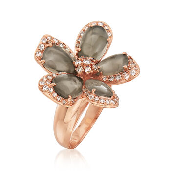 C. 1990 Vintage Piero Milano Gray Moonstone and .75 ct. t.w. Diamond Flower Ring in 18kt Rose Gold. Size 7