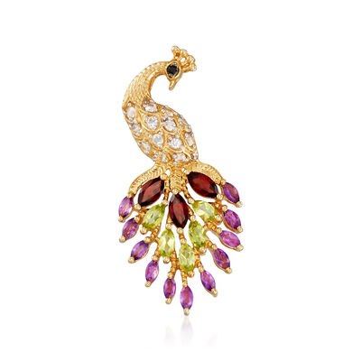 2.80 ct. t.w. Multi-Stone Peacock Pendant in 18kt Gold Over Sterling, , default
