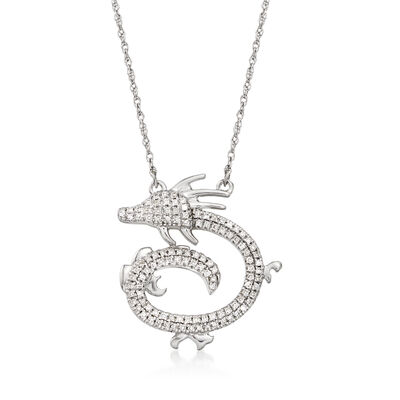 .15 ct. t.w. Diamond Dragon Necklace in 14kt White Gold, , default