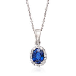 1.00 Carat Sapphire and .15 ct. t.w. Diamond Pendant Necklace in 14kt White Gold, , default