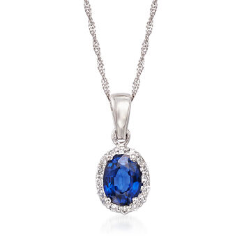 "1.00 Carat Sapphire and .15 ct. t.w. Diamond Pendant Necklace in 14kt White Gold. 16"", , default"