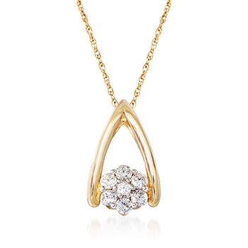 """.20 ct. t.w. CZ Cluster Pendant Necklace in 14kt Yellow Gold. 18"""", , default"""