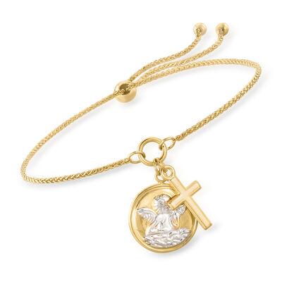 14kt Yellow Gold Religious Bolo Bracelet