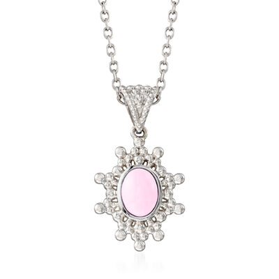 Pink Opal Sun Pendant Necklace in Sterling Silver, , default