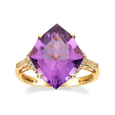 6.00 Carat Amethyst Ring with Diamond Accents in 14kt Yellow Gold