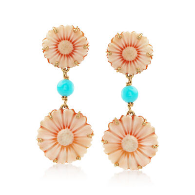 Italian Orange Shell and Turquoise Cameo Drop Earrings in 14kt Yellow Gold, , default