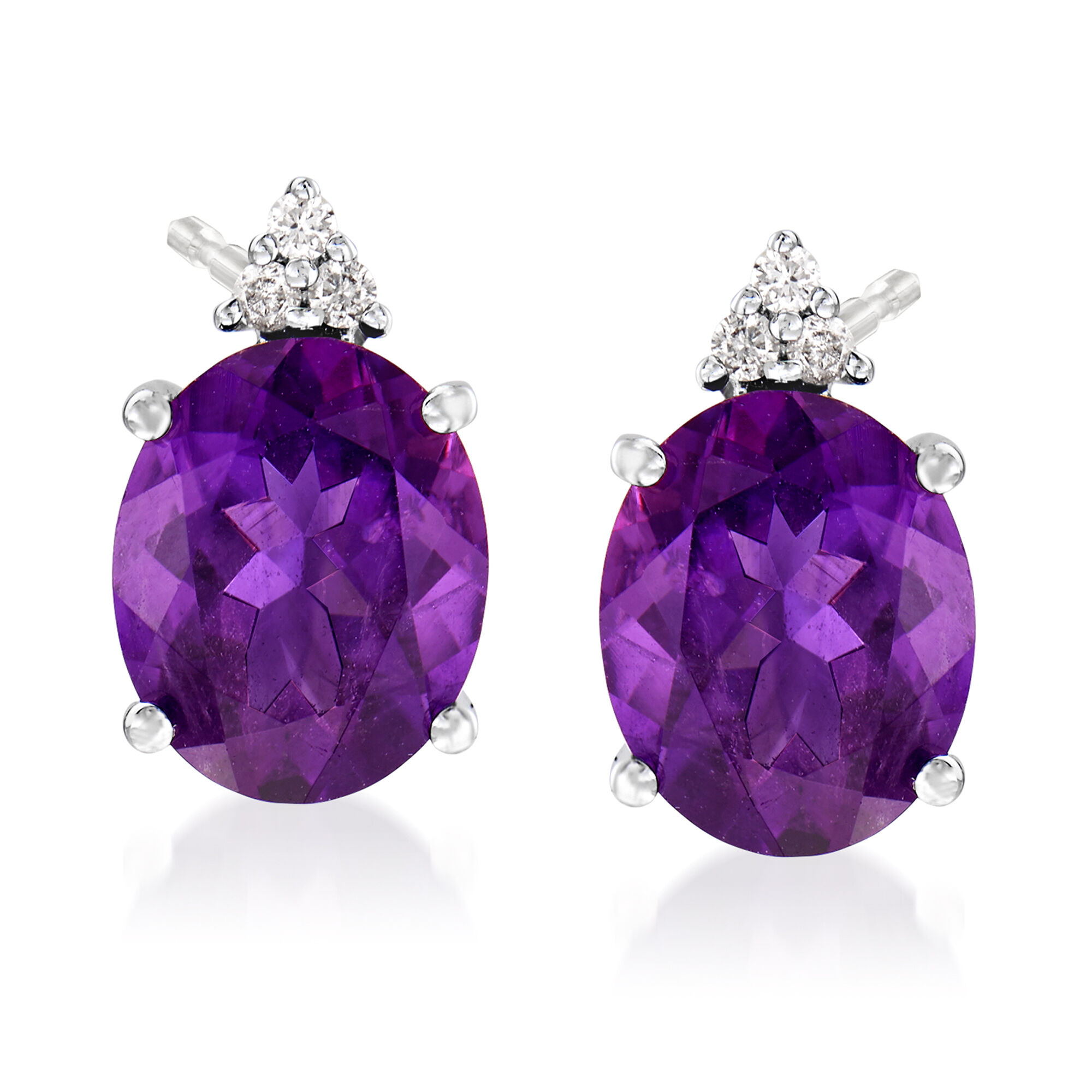 1.65 Ct Oval Purple Amethyst Gold Plated Silver Pendant Earrings Set