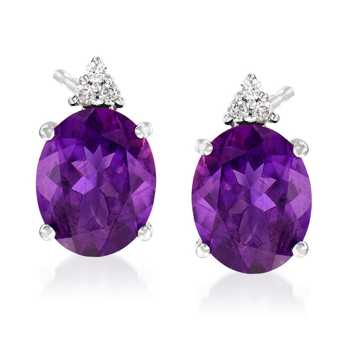 4.20 ct. t.w. Oval Amethyst and Diamond Post Earrings in 14kt White Gold