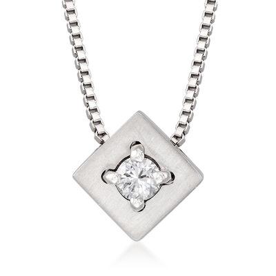 C. 1990 Vintage Salvini Diamond-Accented Square Pendant Necklace in 18kt White Gold