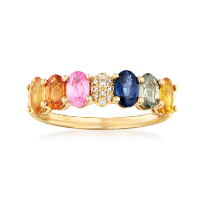 1.70 ct. t.w. Multicolored Sapphire Ring with Diamond Accents in 14kt Yellow Gold