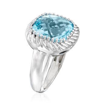12.00 Carat Sky Blue Topaz Rope Ring in Sterling Silver, , default