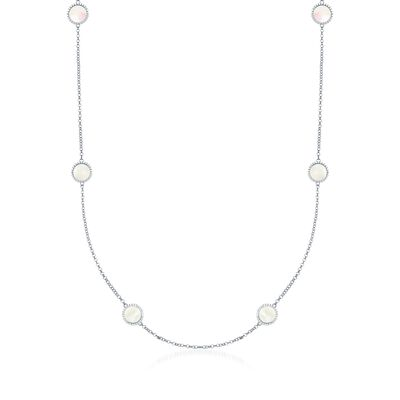 Mother-Of-Pearl and .90 ct. t.w. CZ Station Necklace in Sterling Silver, , default