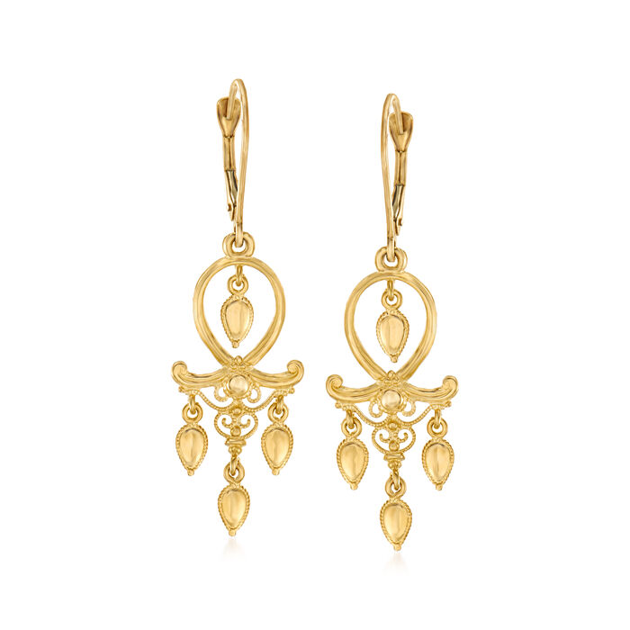 Italian 14kt Yellow Gold Filigree Drop Earrings