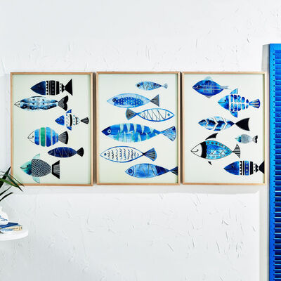 Set of 3 Aegean Sea Fish Wall Art, , default