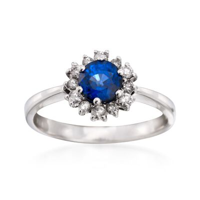 .90 Carat Sapphire and .25 ct. t.w. Diamond Ring in 14kt White Gold, , default