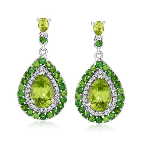 Birthstone Jewelry Featuring Multi-Gemstone Halo Drop Earrings in Sterling Silver 934690