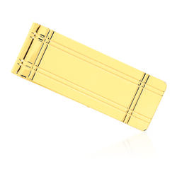 14kt Yellow Gold Three-Initial Grooved Money Clip, , default