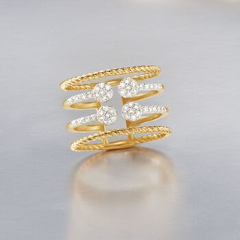 .35 ct. t.w. Diamond Four-Row Open Space Ring in 14kt Yellow Gold, , default