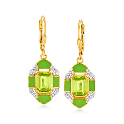 2.80 ct. t.w. Peridot and .10 ct. t.w. White Topaz Drop Earrings in 18kt Gold Over Sterling with Green Enamel