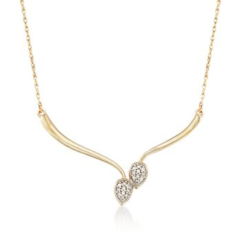 "Diamond Accent Teardrop Necklace in 14kt Yellow Gold. 20"", , default"