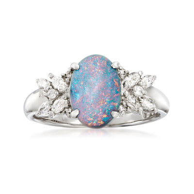 C. 1980 Vintage 10x7mm Black Opal and .20 ct. t.w. Diamond Ring in Platinum, , default