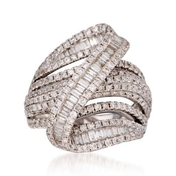 2.85 ct. t.w. Pave Diamond Zigzag Ring in 18kt White Gold. Size 7, , default