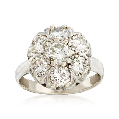 C. 1960 Vintage 2.25 ct. t.w. Diamond Cluster Ring in 14kt White Gold, , default