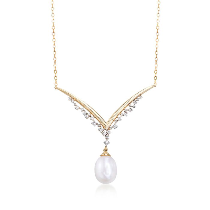 "8-8.5mm Cultured Pearl and .10 ct. t.w. Diamond V-Necklace in 14kt Yellow Gold. 17"", , default"