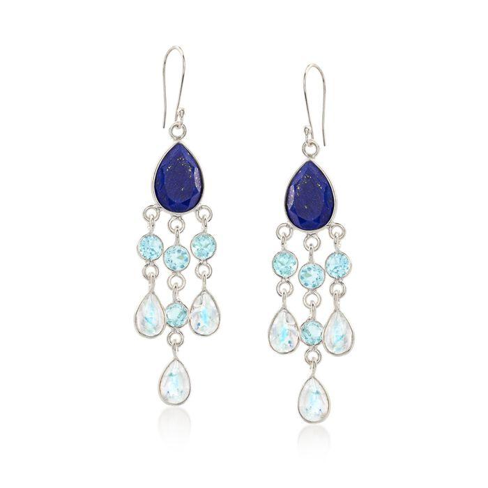 Blue and White Multi-Stone Chandelier Drop Earrings in Sterling Silver