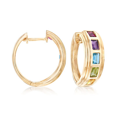 2.40 ct. Tot. Gem wt. Multi-Gem Hoop Earrings in 14kt Yellow Gold, , default