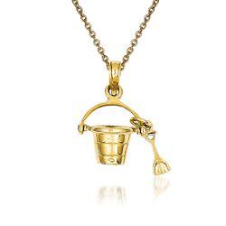 """14kt Yellow Gold Beach Pail Pendant Necklace. 18"""", , default"""