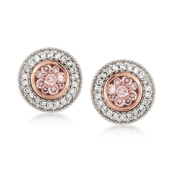 .33 ct. t.w. Pink and White Diamond Earrings in 14kt Two-Tone Gold, , default