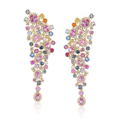 13.45 ct. t.w. Multicolored Sapphire and 2.30 ct. t.w. Diamond Drop Earrings in 18kt Yellow Gold