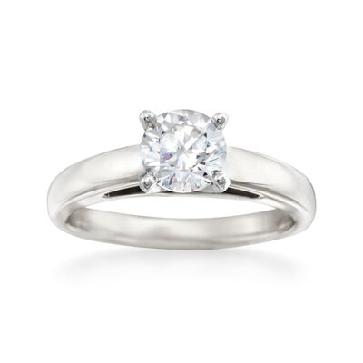 14kt White Gold Solitaire Cathedral Engagement Ring Setting, , default