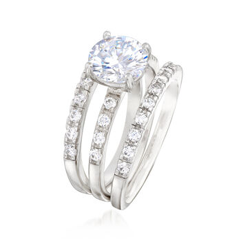 2.40 ct. t.w. CZ Bridal Set: Engagement and Two Wedding Rings in Sterling Silver, , default