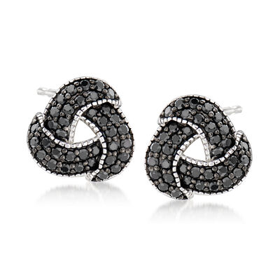 1.40 ct. t.w. Black Spinel Love Knot Earrings in Sterling Silver