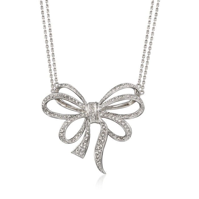 .39 ct. t.w. Diamond Bow Double-Strand Necklace in Sterling Silver