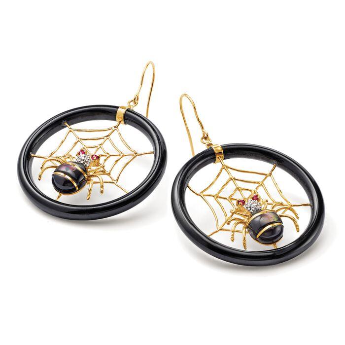 Multi-Stone Spiderweb Drop Earrings in 14kt Yellow Gold