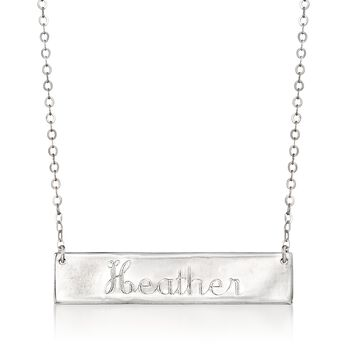 """Sterling Silver Name Bar ID Necklace. 18"""", , default"""